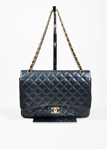 Black Chanel GHW Quilted Caviar Leather Classic Maxi Double Flap Bag Frontview