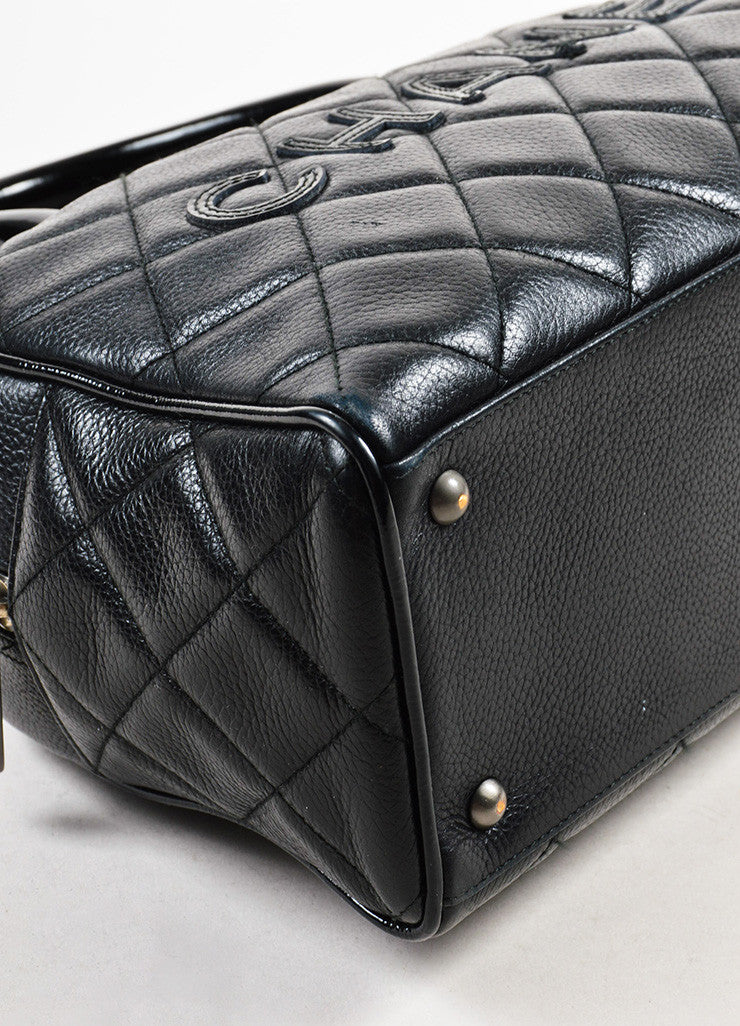 Chanel Black Leather Quilted Stitched Script Patent Top Handle Bowler Bag Detail