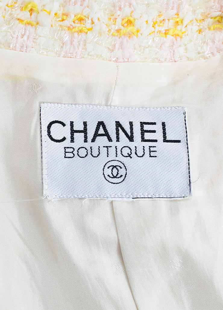 Chanel Pink and Yellow Boucle Tweed Shimmer Tread Fray Edge Jacket Brand