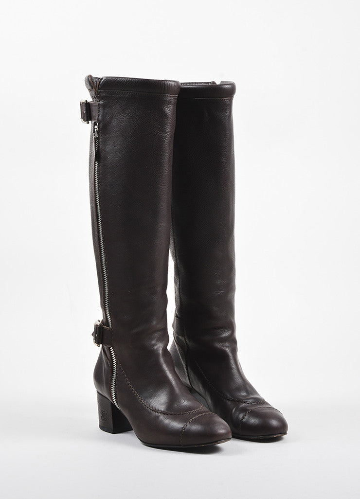 Chanel Brown Leather Dual Buckled Knee High Cap Toe Boots  Frontview