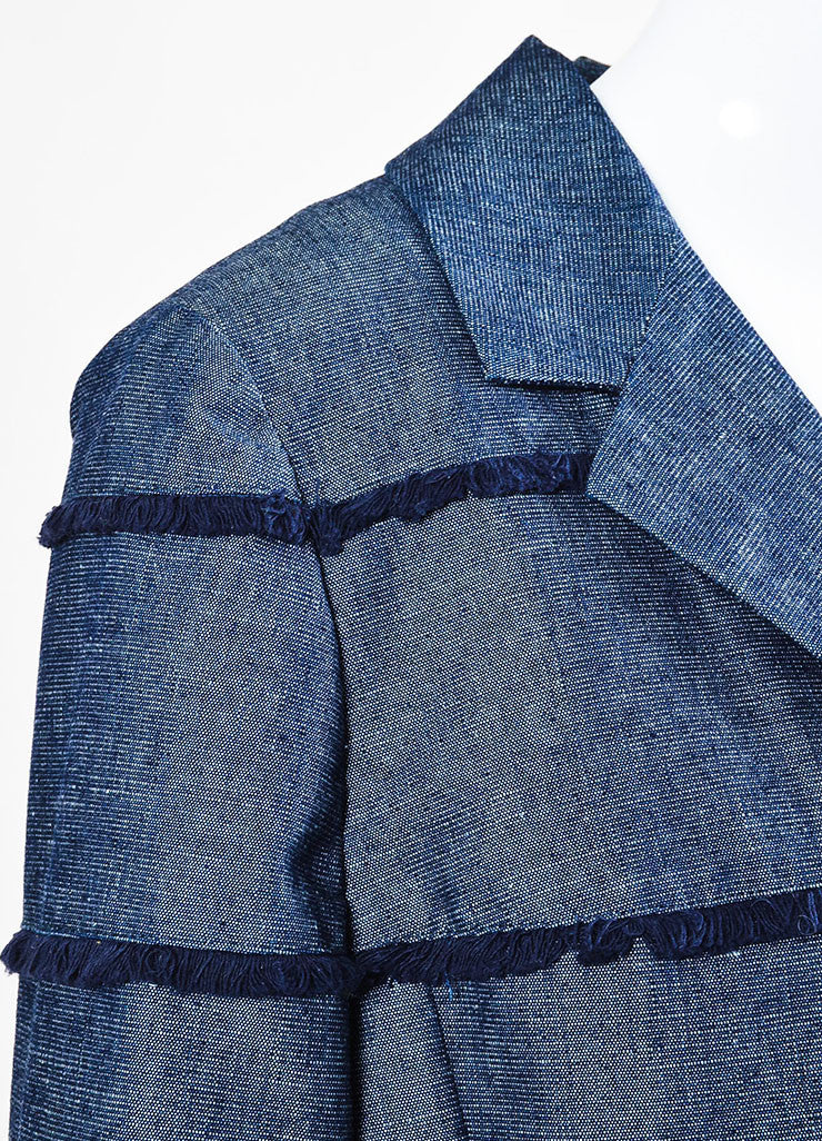 Chanel Denim Frayed Detail Cropped Sleeve Jacket Detail