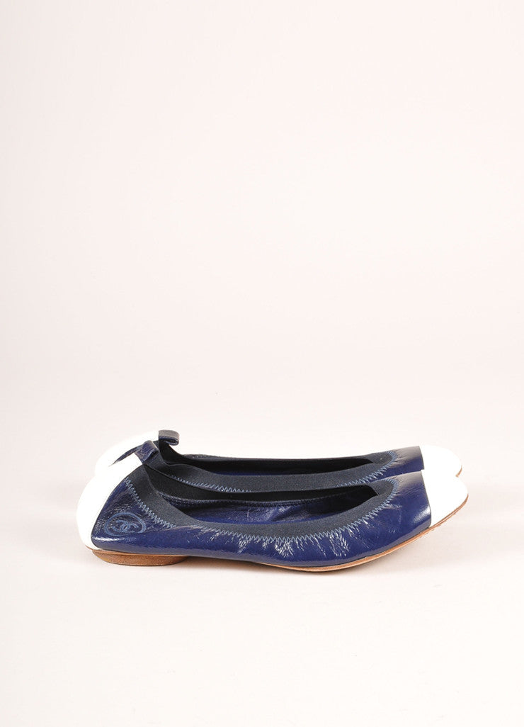 Chanel Navy and White Patent Leather Embossed Contrast Cap Toe Flats Sideview