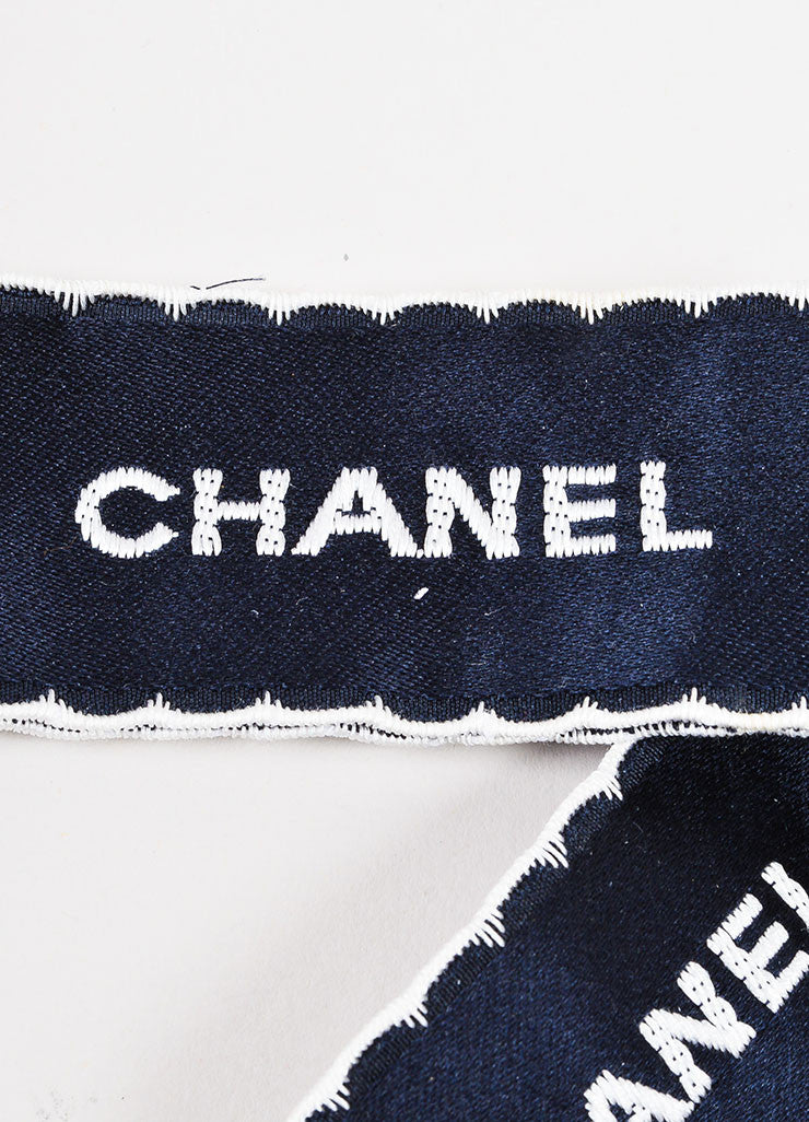 Chanel Navy and White Satin Embroidered Oversized Bow Tie Ribbon Brooch Pin Detail 2