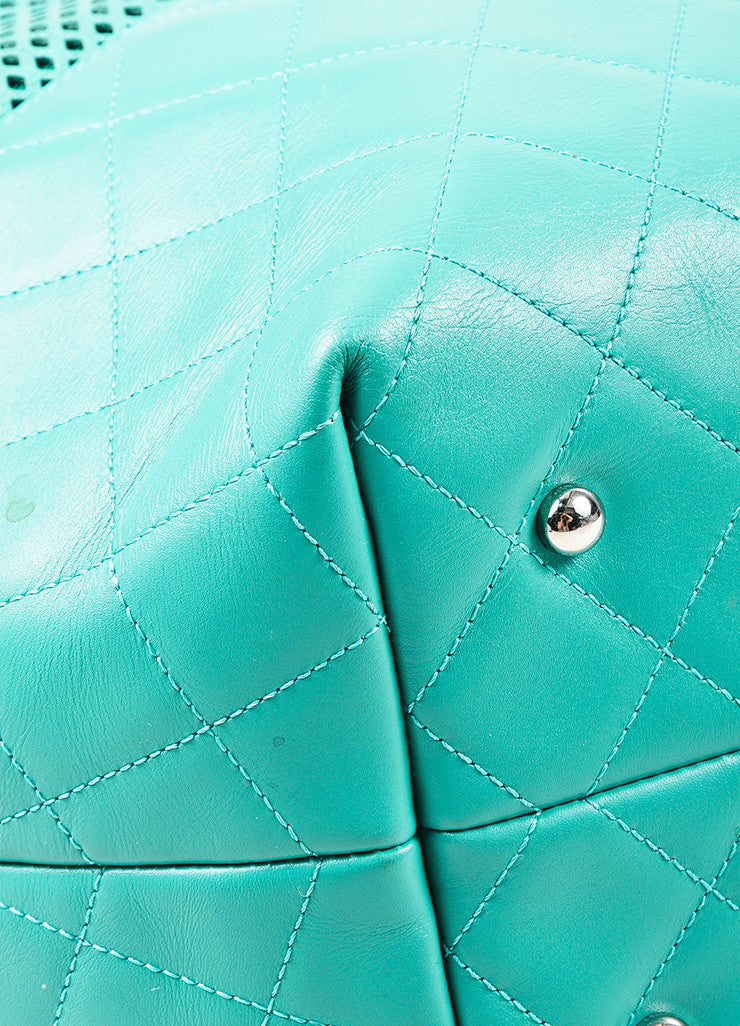 "Chanel Teal Leather Perforated Quilted ""Up in the Air"" Chain Handle Tote Bag Detail"