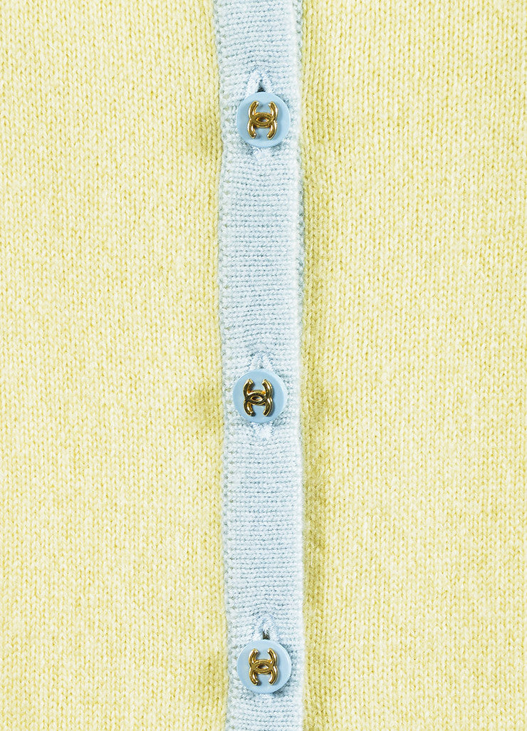 Chanel Yellow and Baby Blue Cashmere Cropped Sleeve Knit Cardigan Detail