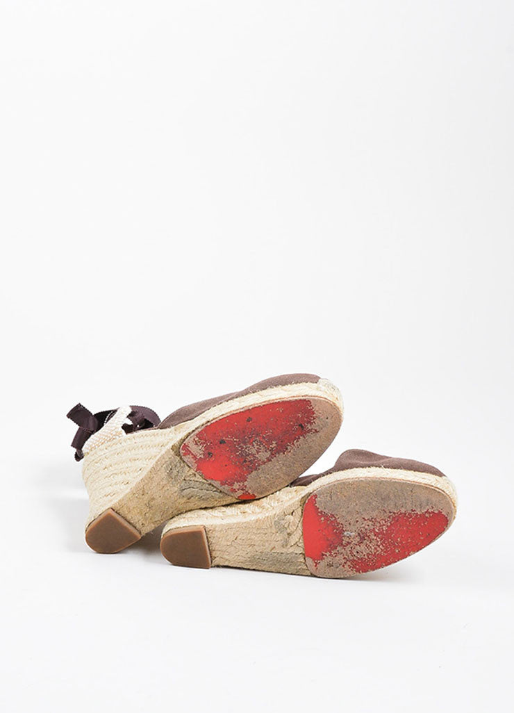 "Christian Louboutin Brown and Beige Canvas Round Toe ""Bridgette"" Espadrille Wedges Outsoles"