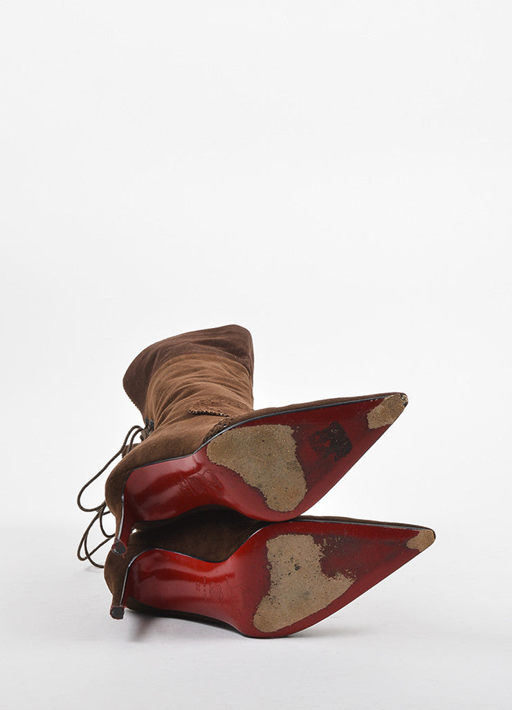 "Christian Louboutin Brown Suede Brogue Detailed ""Conquistador"" Boots Outsoles"