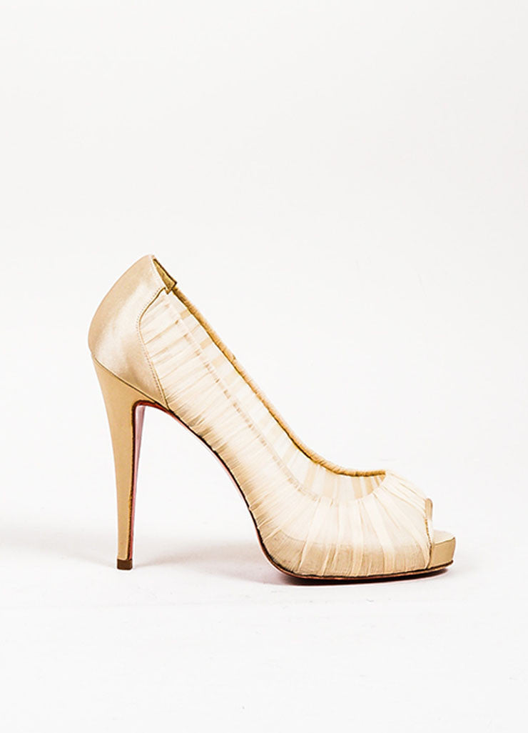 "Cream Christian Louboutin Chiffon Satin Trim Peep Toe ""Very Prive"" Pumps Sideview"