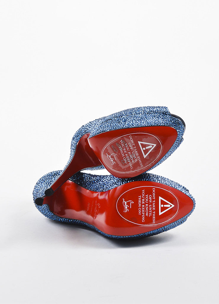 "Blue Christian Louboutin Crystal ""Lady Peep Strass 150"" Pumps Outsoles"