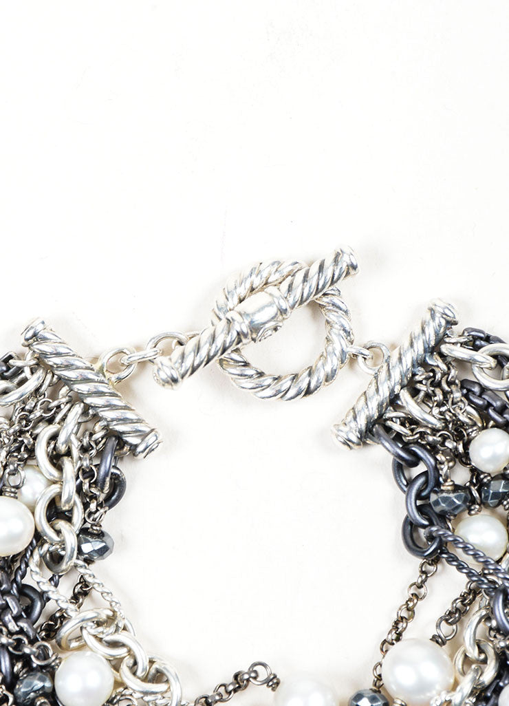 Sterling Silver, Gunmetal, and Cream David Yurman Pearl Multistrand Toggle Bracelet Detail 2