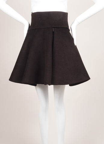Delpozo New With Tags Dark Brown Wool and Angora Flare Skirt Frontview