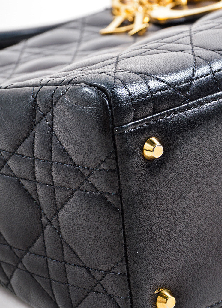 "Christian Dior Black Leather Quilted Top Handle Medium ""Lady"" Tote Bag Detail"