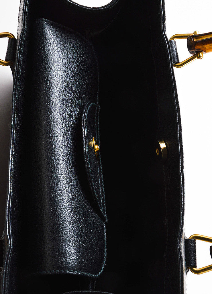 Gucci Black Leather Bamboo Handle Tote Bag Detail 4