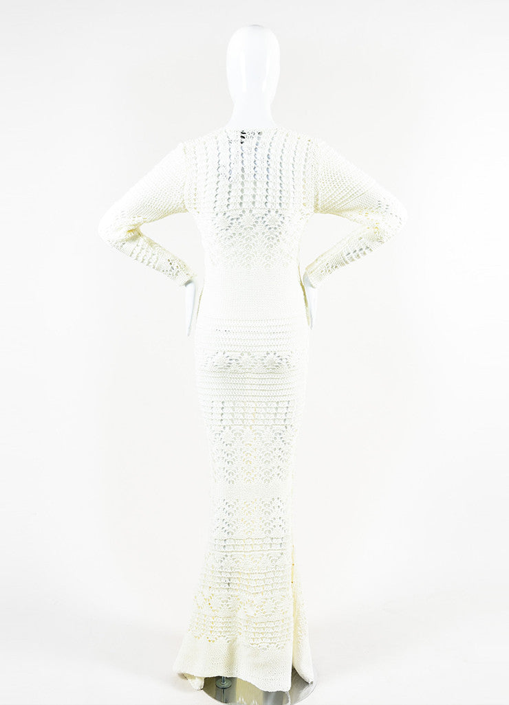 Emilio Pucci Cream and Gold Toned Cotton Crochet Ringed Keyhole Long Sleeve Gown Backview