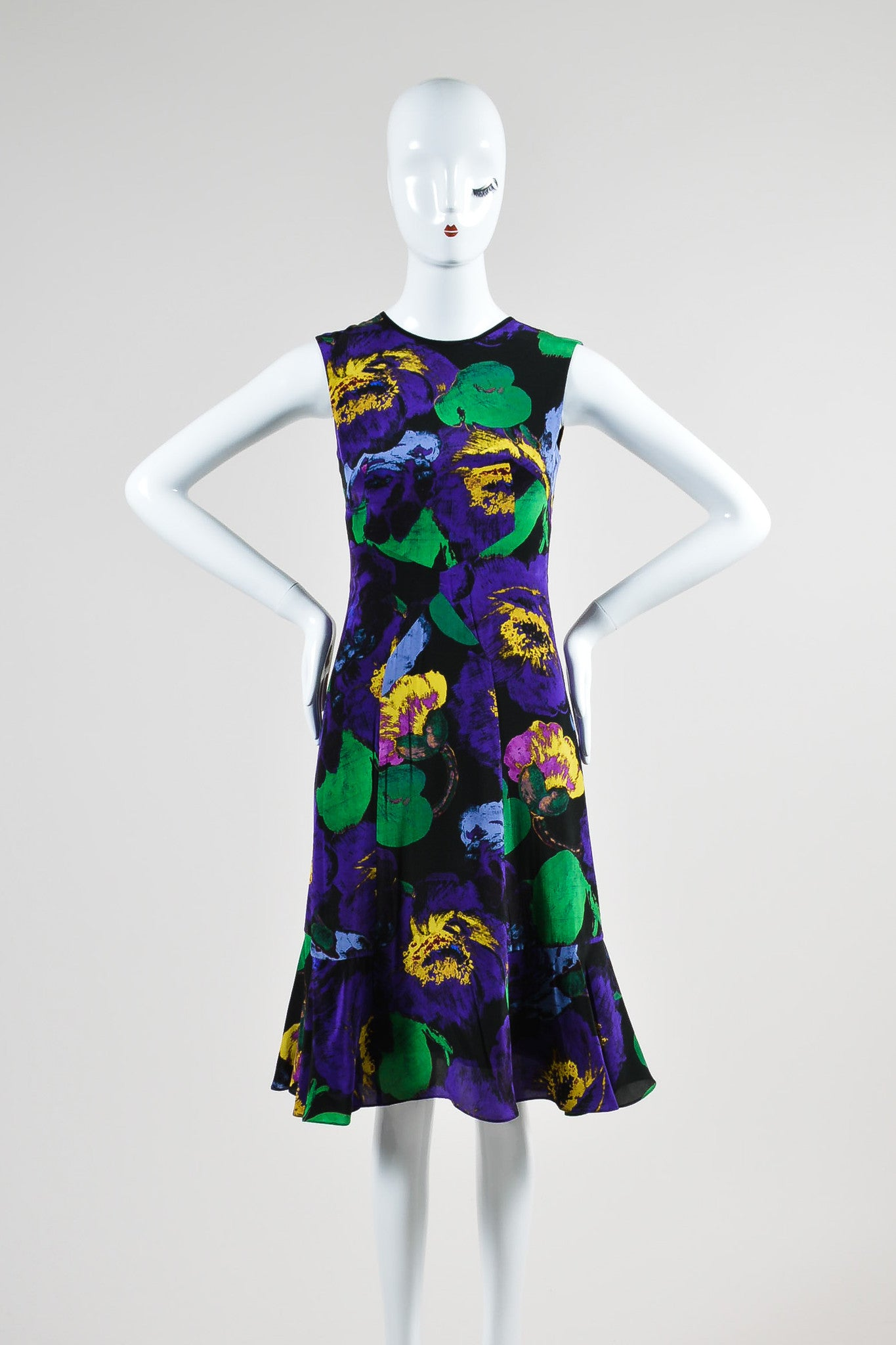 "Purple, Green, and Yellow Erdem Silk Floral Fit and Flare ""Jana"" Dress Frontview"