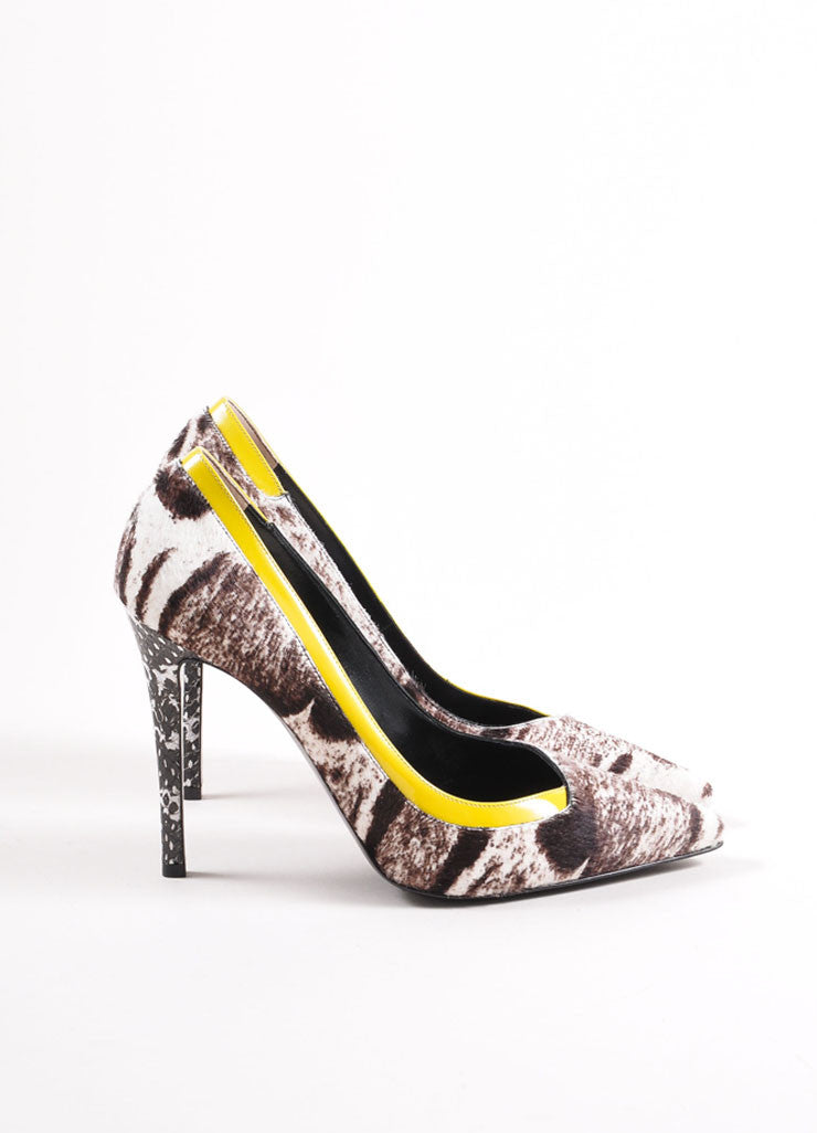 Fendi New In Box White, Brown, and Yellow Pony Hair Animal Print Patent Trim Pumps Sideview