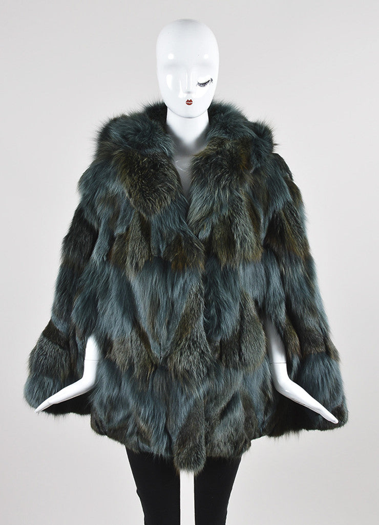 Feraud Blue and Brown Fur Sleeveless Hooded Cape Frontview 2