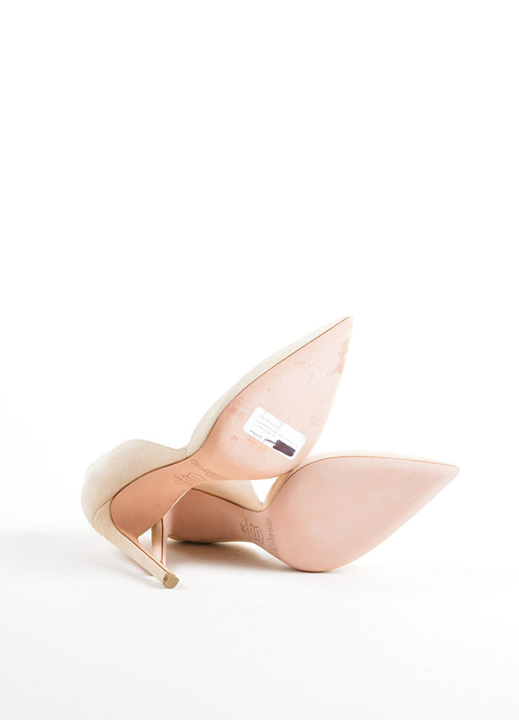 Giambattista Valli Beige Suede Pointed Toe D'Orsay Pumps Outsoles