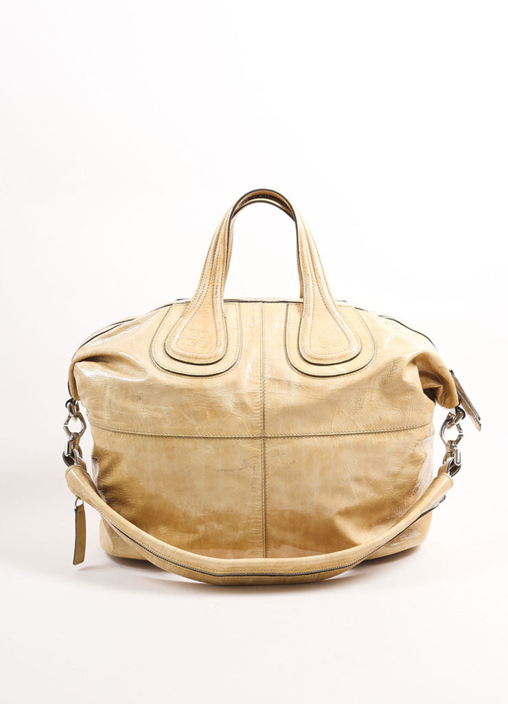 "Givenchy Beige Crinkled Patent Leather Large ""Nightingale"" Tote Bag Frontview"
