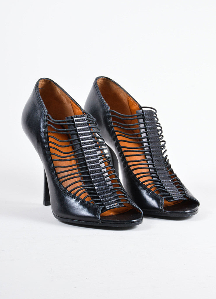 Givenchy Black Leather & Elastic Peep Toe High Heel Cage Pumps Front