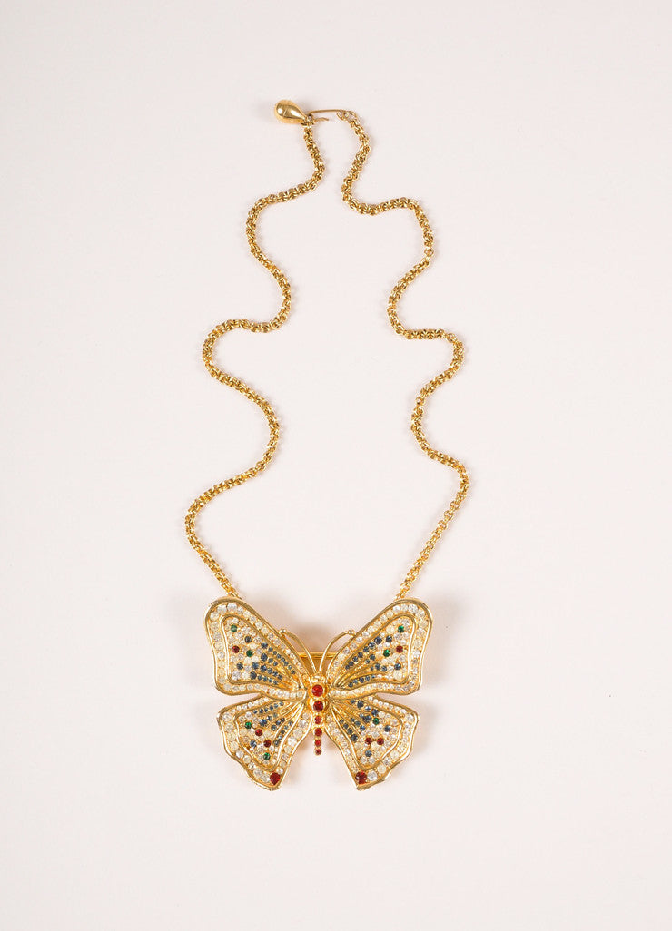 Vintage Gold Toned, Red, and Green Rhinestone Butterfly Pendant Chain Link Necklace Frontview