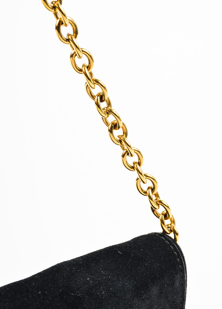 "Gucci Black and Gold Toned Suede Heart Embellished ""Babouska"" Evening Bag Detail 2"