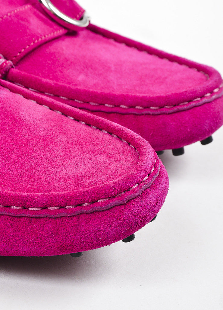 Pink Gucci Suede Leather 'GG' Buckle Round Toe Driving Loafers Detail
