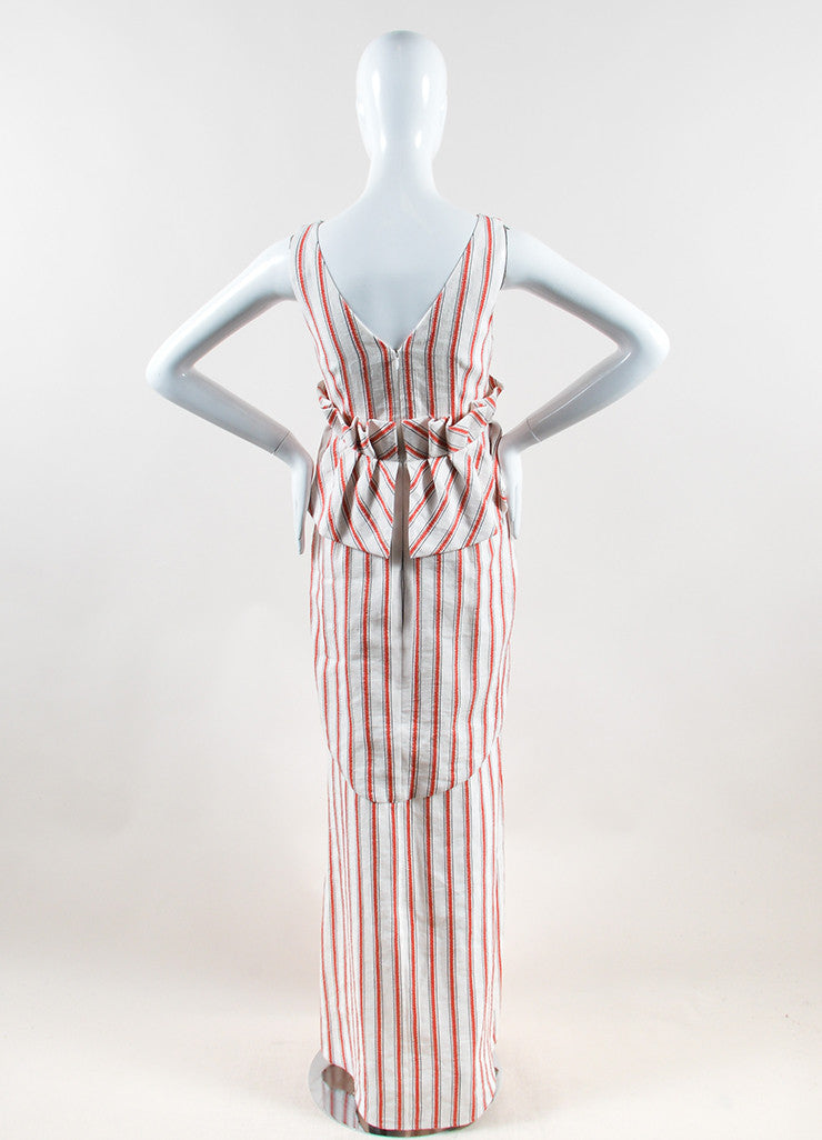 Hellessy White and Red Linen and Cotton Striped Ruffle Slit Maxi Dress Backview