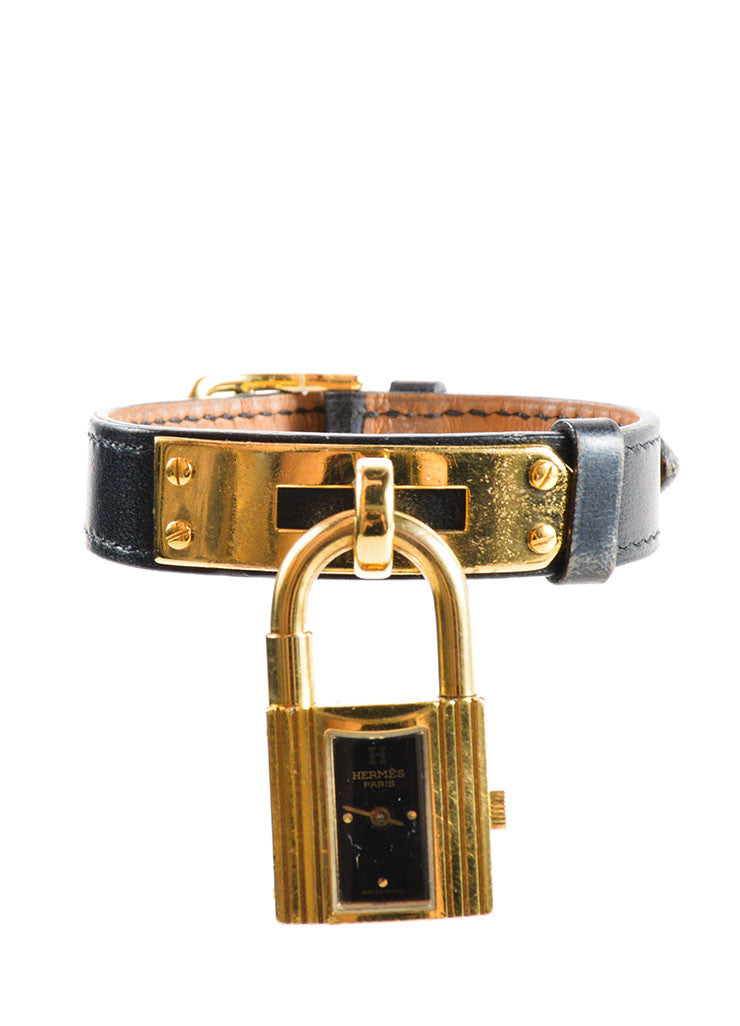 "Hermes Black and Gold Plated Steel Barenia Leather Padlock ""Kelly"" Watch Frontview"