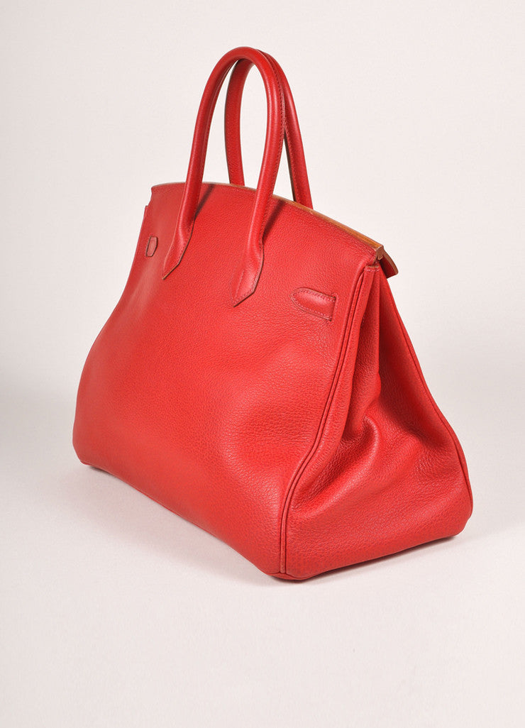 "Hermes Red and Gold Toned ""Rouge Garance"" Buffalo Skipper Leather 35cm Birkin Bag Sideview"