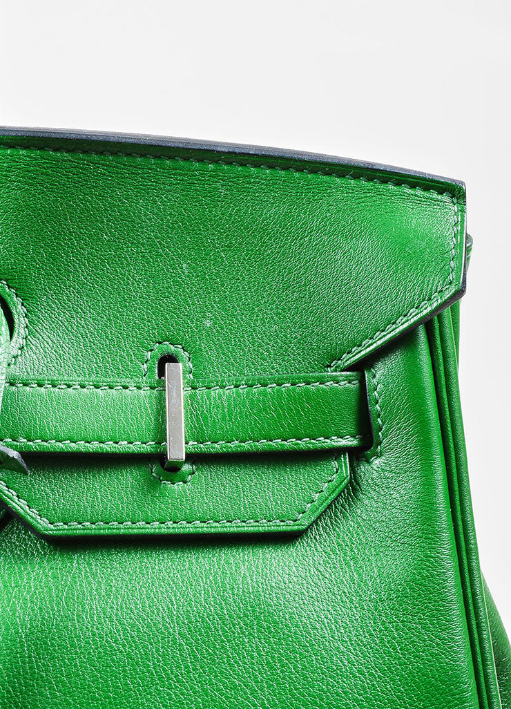 "Hermes Green SHW ""Vert Bengale"" Veau Swift Leather 35 cm ""Birkin"" Bag Detail 2"