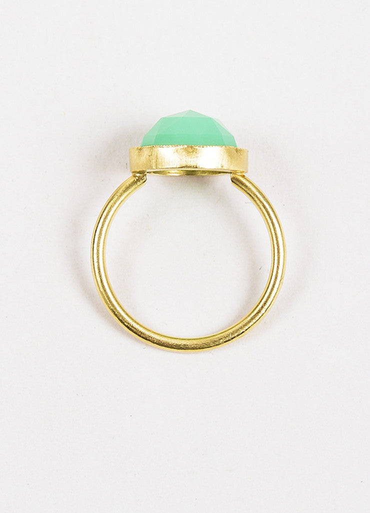 Irene Neuwirth Green Chrysoprase Gemstone and 18k Yellow Gold Ring topview