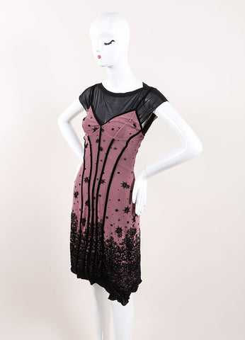 Jean Paul Gaultier Soleil Purple and Black Velvet Detail Layered Dress Sideview