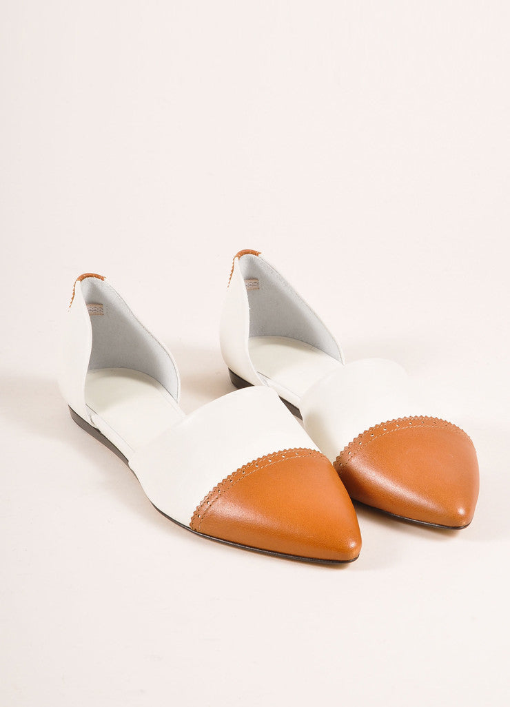 Jenni Kayne New In Box White and Cognac Leather D'Orsay Pointed Toe Flats Frontview