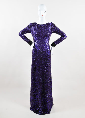 Jenny Packham Purple Sequin Embellished Long Sleeve Gown Frontview
