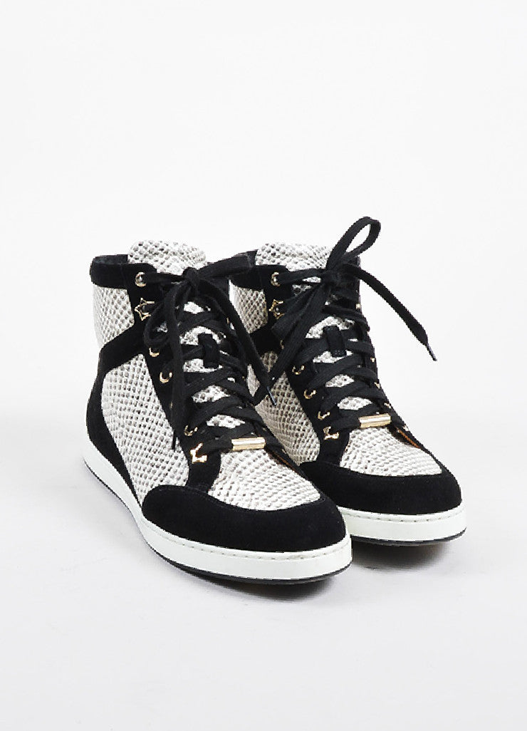 "Jimmy Choo Black and White Suede Snake Embossed High Top ""Tokyo"" Sneakers Frontview"