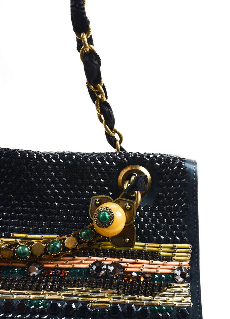Lanvin Black Satin Sequin Beaded Ribbon Chain Strap Turnlock Satchel Bag Detail 2