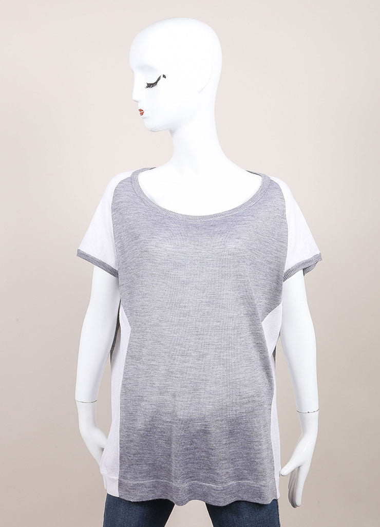 Leetha New With Tags Grey and White Paneled Cashmere and Silk Knit Cap Sleeve Sweater Frontview