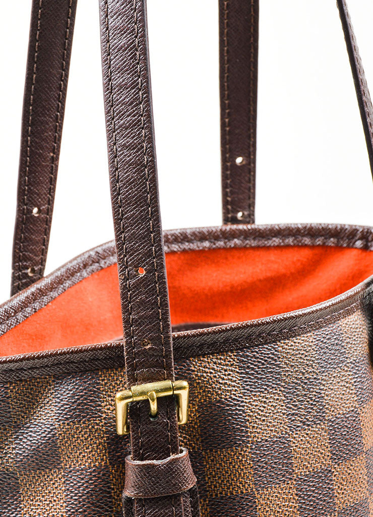 Louis Vuitton Brown Canvas Checkered Bucket Bag Detail 2