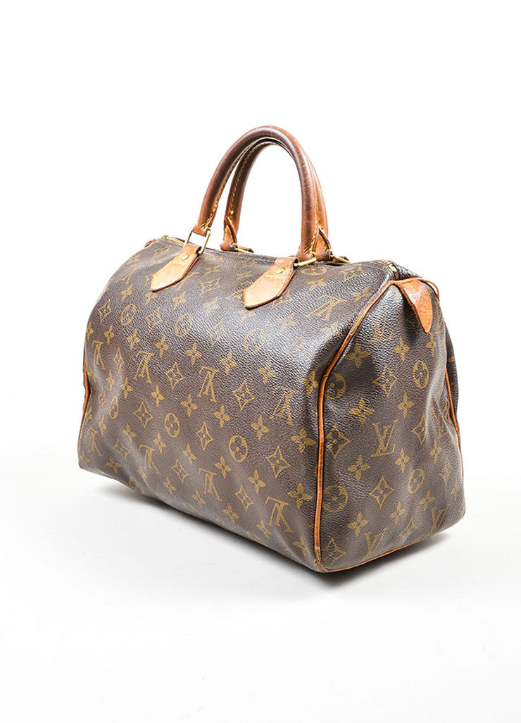 Brown Louis Vuitton Monogram Canvas Speedy 30cm Duffel Bag Sideview