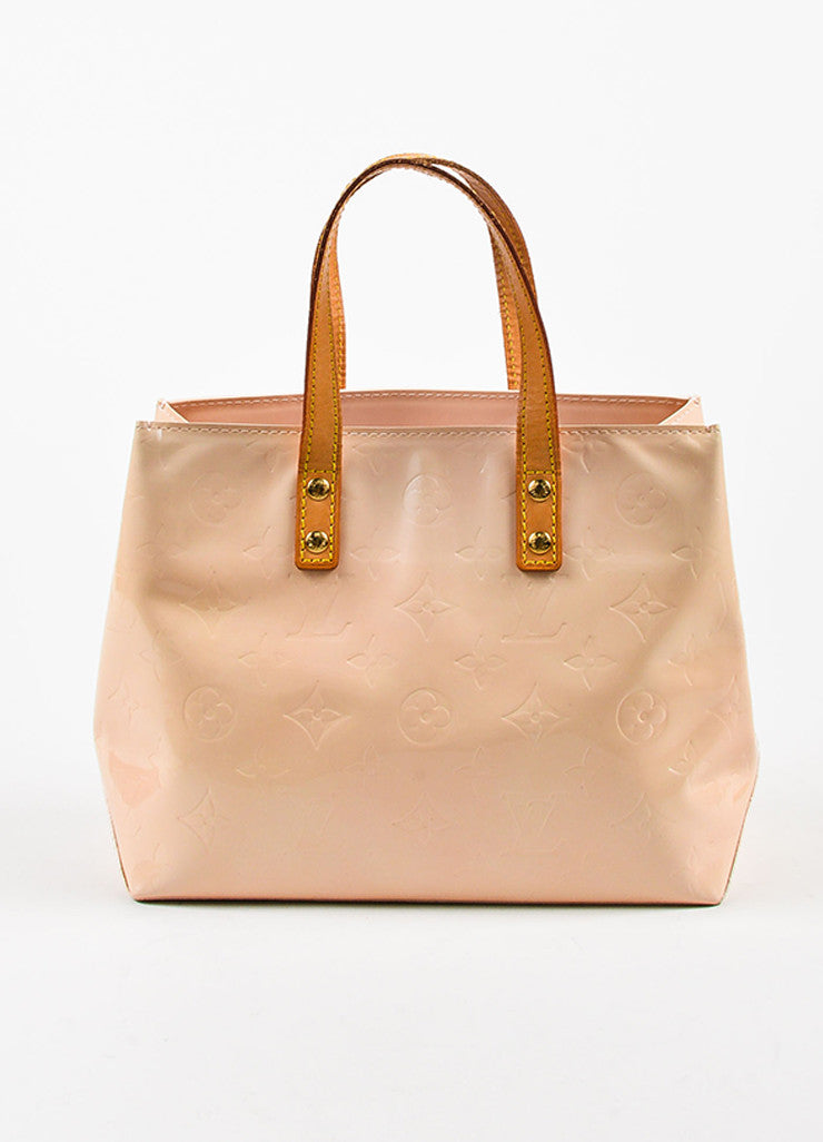 "Peach ""Marshmallow"" Louis Vuitton Vernis Leather ""Reade PM"" Tote Bag Front"
