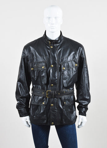 "Men's Belstaff Black Brown Coated Belted ""Sammy Miller"" Jacket Front"