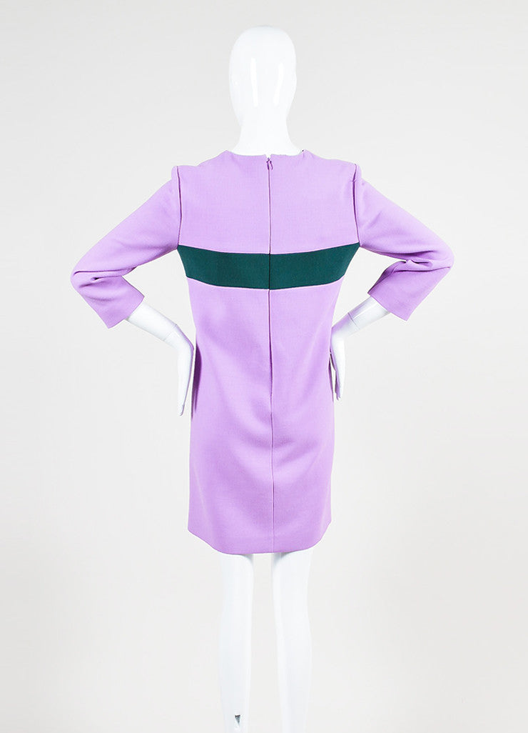 Purple and Two-Tone Green Marni Wool Mini Mod Shift Dress Backview