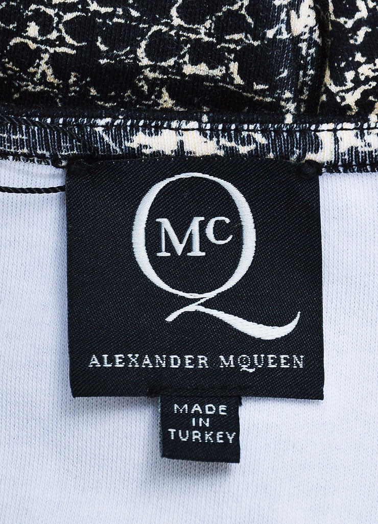 í_í_Œ¢í_?çí_í_McQ by Alexander McQueen Black and Cream Cotton Jersey Croc Print Long Sleeve Bodycon Dress Brand