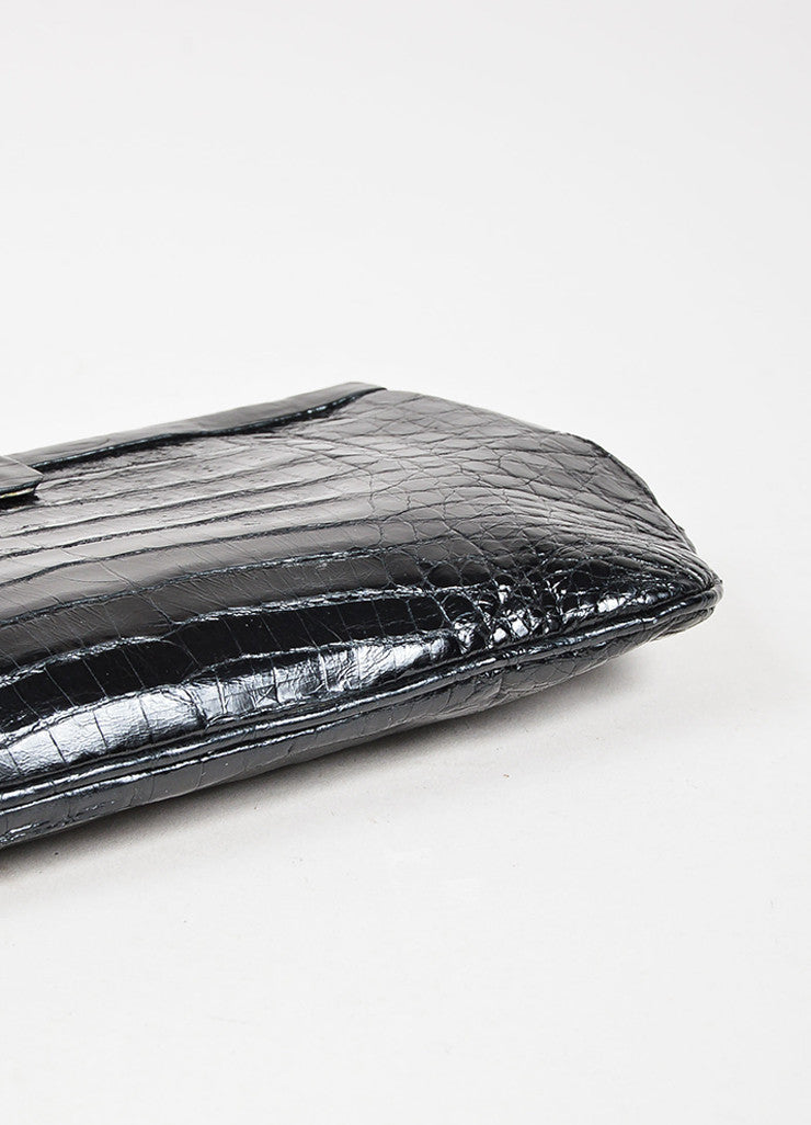 Nancy Gonzalez Black Crocodile Leather Rectangular Clutch Bag Detail