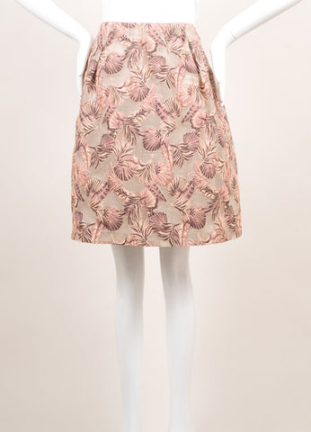 Odeeh New With Tags Peach and Taupe Cotton and Silk Leaf Jacquard Short Bell Skirt Frontview