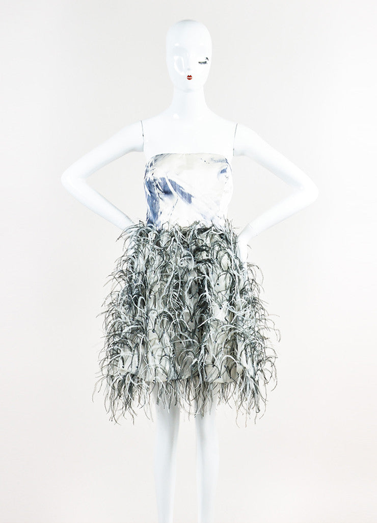 Oscar de La Renta Cream and Grey Watercolor Feather Sequin Strapless Mini Dress Frontview