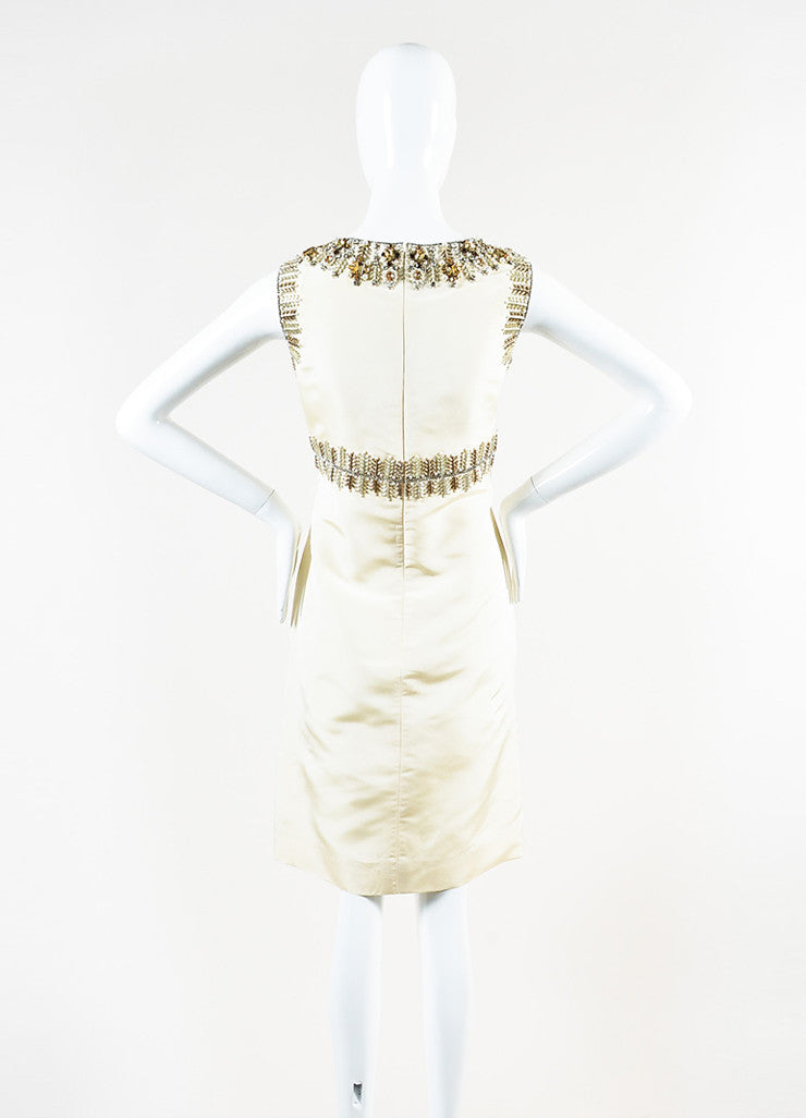 Oscar de la Renta Cream Silk Rhinestone Bead Embellished Sleeveless Sheath Dress Backview