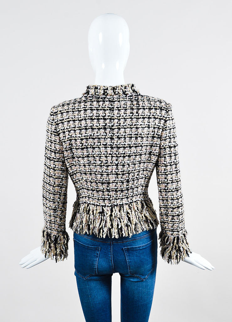 Multicolor Oscar de la Renta Tweed Fringe Trim Jacket Backview