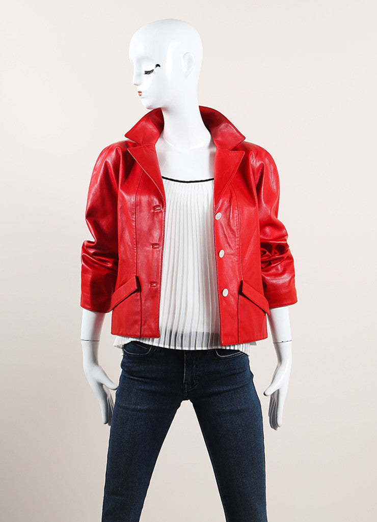 Oscar de la Renta Red Leather Button Up Crop Sleeve Jacket Frontview
